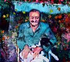 Meher Baba with Goat