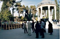 talking with visitors to Hafez Tomb and to my paintings